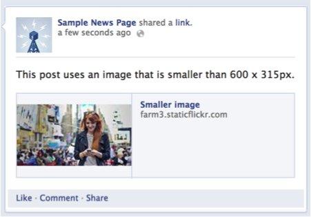 imagen pequeña en Facebook